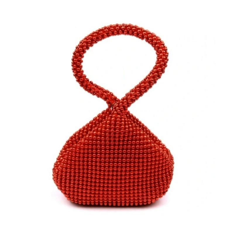 Mini sac porté main / Perles rouges