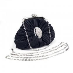 Petit sac bourse satin et strass noir / Pochette mariage, sac cérémonie, sac bandoulière