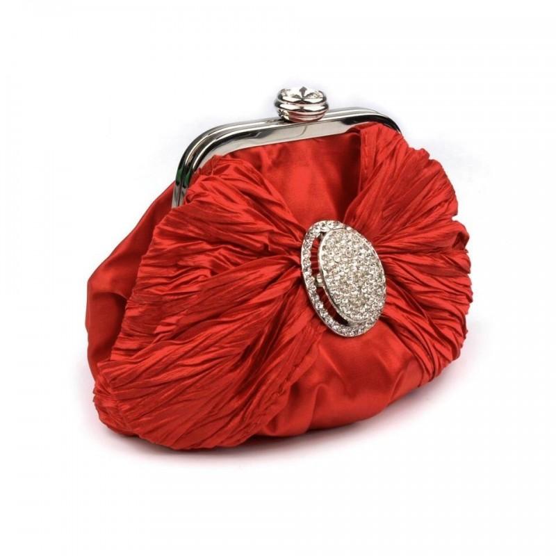 Petit sac bourse satin et strass rouge / Pochette mariage, sac cérémonie, sac bandoulière