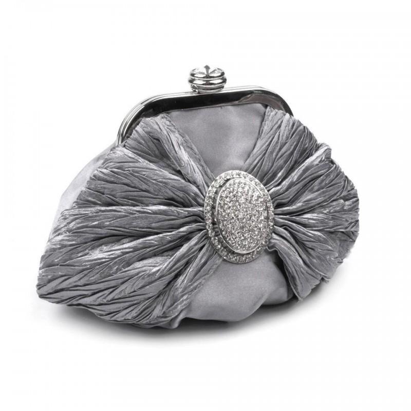 Petit sac bourse satin et strass gris argent / Pochette mariage, sac cérémonie, sac bandoulière