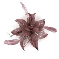Chapeau mariage Fleur en voile marronsur peigne