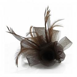 Chapeau mariage Accessoire cheveux cérémonie marron