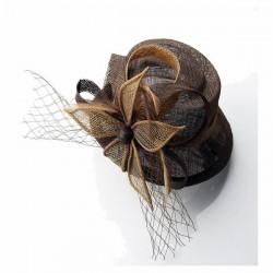 Chapeau mariage Petit chapeau cérémonie sisal marron