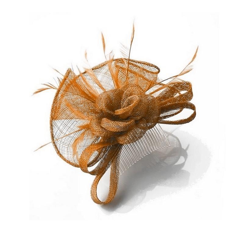Chapeau mariage Bibi cérémonie marron roux