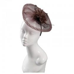 Chapeau mariage chapeau de mariage tulle et fleurs marron