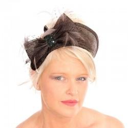 Chapeau mariage Bibi headband strass marron chocolat
