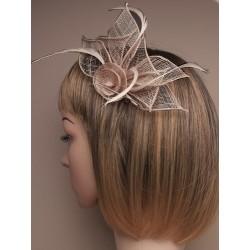 Chapeau mariage Pince cheveux ou broche marron
