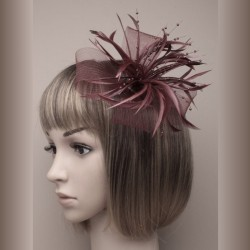 Chapeau mariage Headband ruban perles plumes marron