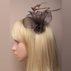 Chapeau mariage Pince cheveux ou broche marron foncé