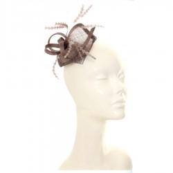 Chapeau mariage Bibi carré sisal et plumes chocolat