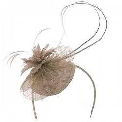 Chapeau mariage Bibi mariage fleur et plumes marron taupe