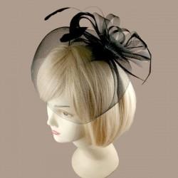 Chapeau mariage Bibi fascinateur voilette et plumes noir