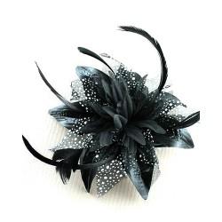 Chapeau mariage Accessoire de coiffure noir et blanc plumes et voile