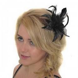 Accessoire de coiffure noir et blanc plumes et voile