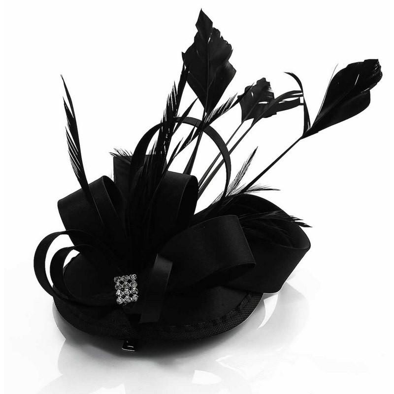 Chapeau mariage Accessoire cheveux fascinateur  strass noir