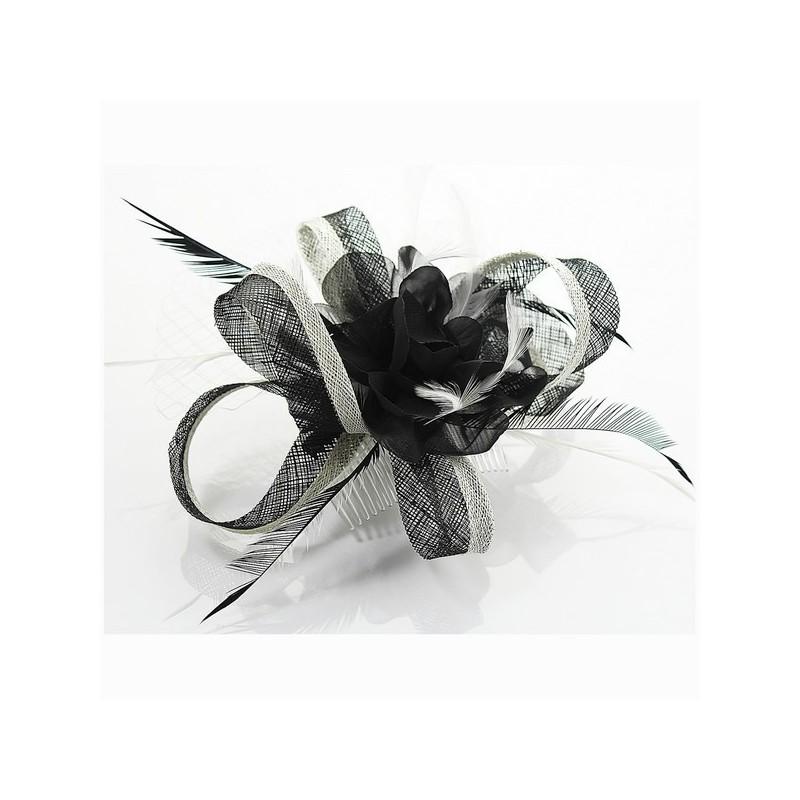 Chapeau mariage Fascinateur cheveux noir et blanc