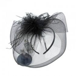 Chapeau mariage Bibi de cérémonie plumes noir