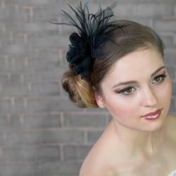Chapeau mariage Accessoire pour coiffure noir avec plumes