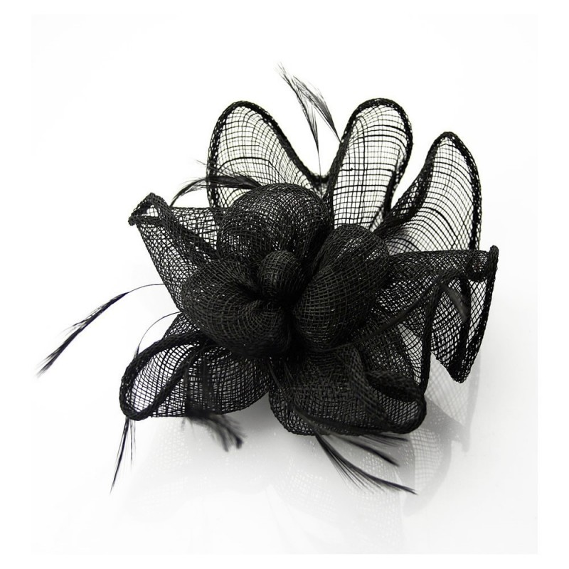Chapeau mariage Accessoire de coiffure noir en sisal