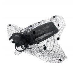 Bibi chapeau de ceremonie noir à voilette