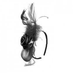 Chapeau mariage bibi ceremonie fleur et plume noir