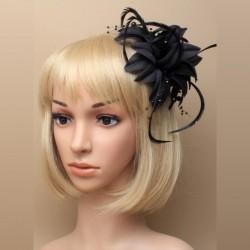 Chapeau mariage Broche ou accessoire cheveux fleur noire