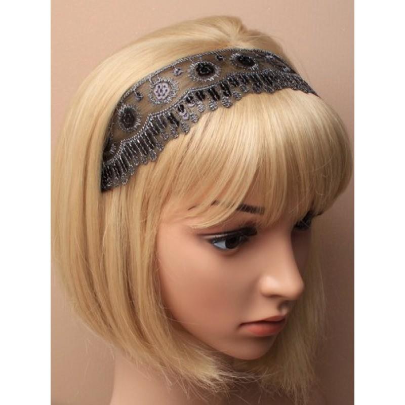 Chapeau mariage Headband dentelle et sequins noirs