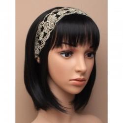 Chapeau mariage Headband dentelle et sequins ivoire gold