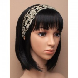 Headband dentelle et sequins ivoire gold