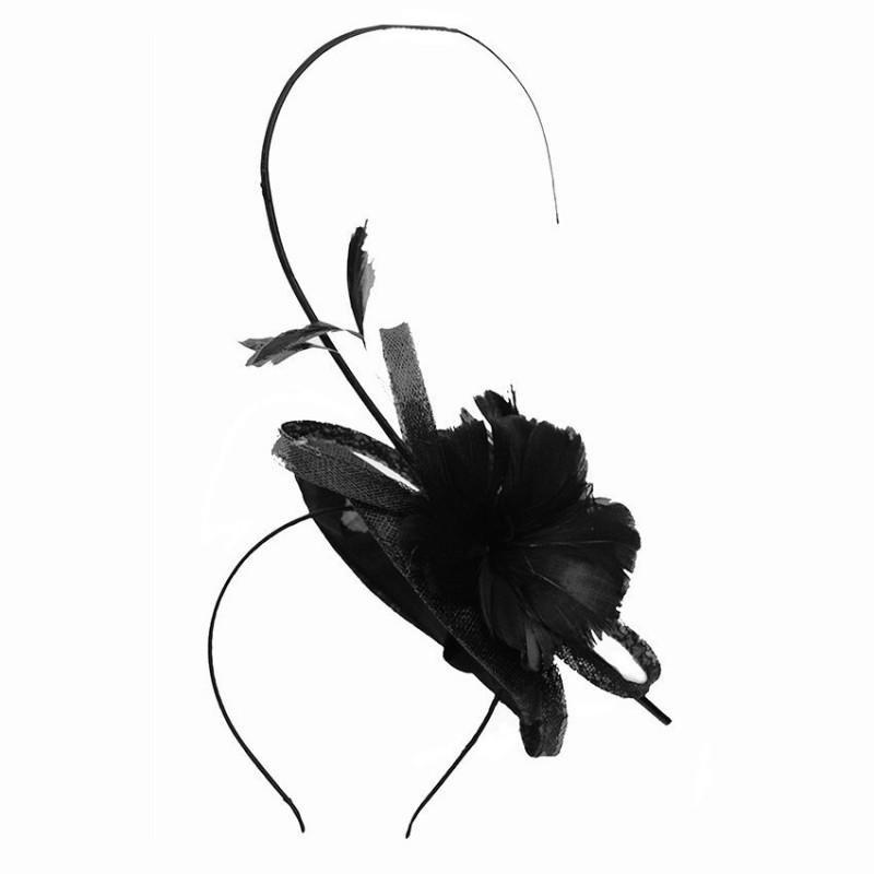 Chapeau mariage bibi mariage avec plumes noir