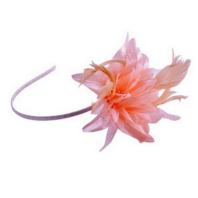 Chapeau mariage Headband avec fleur et plumes pêche orange