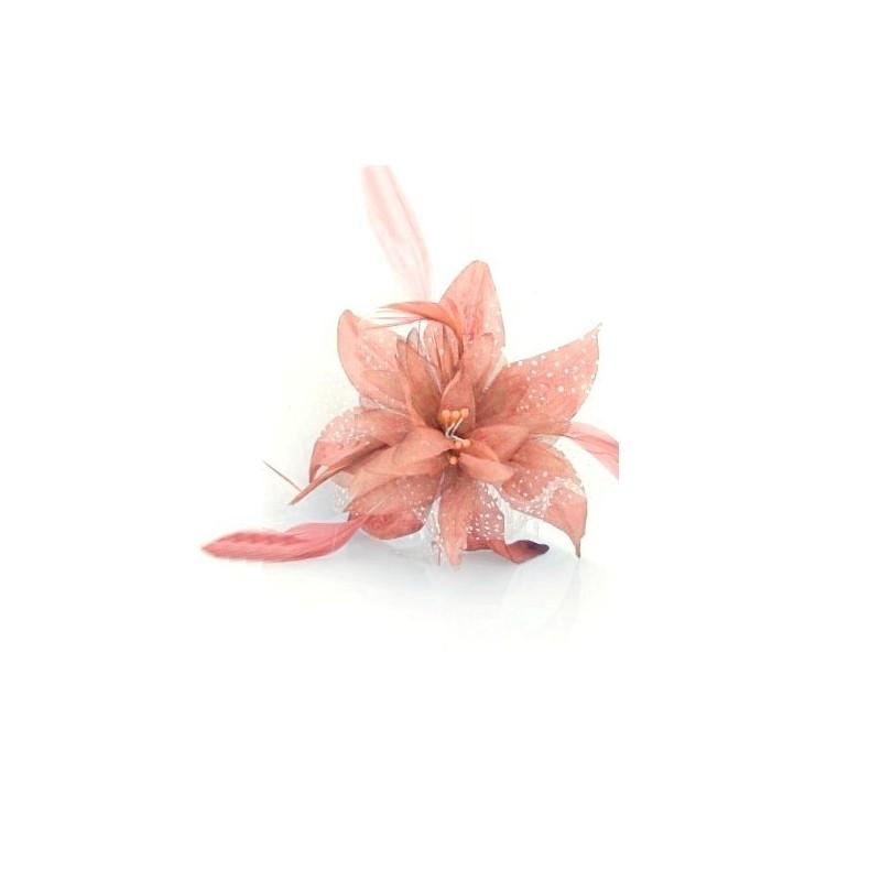 Chapeau mariage Fleur en voile peche saumon sur peigne