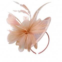 Chapeau mariage Chapeau de cérémonie fleur plumes sisal orange