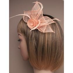 Chapeau mariage Pince cheveux ou broche abricot clair