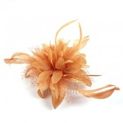 Chapeau mariage Fleur en voile orange sur peigne