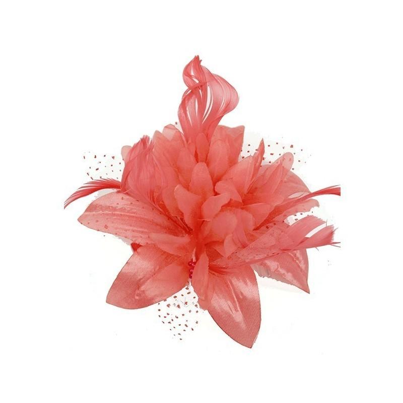 Chapeau mariage Fleur en voile corail sur peigne