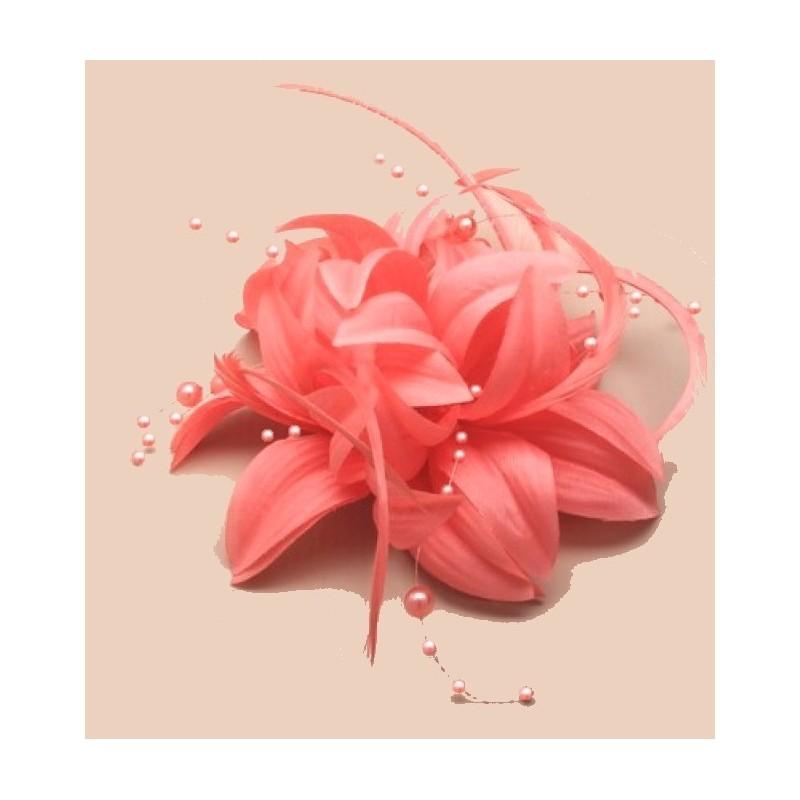 Chapeau mariage Accessoire cheveux fleur orange et perles
