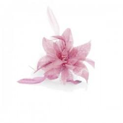 Chapeau mariage Fleur en voile rose sur peigne