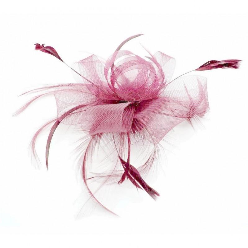 Chapeau mariage Accessoire de coiffure plume tulle rose