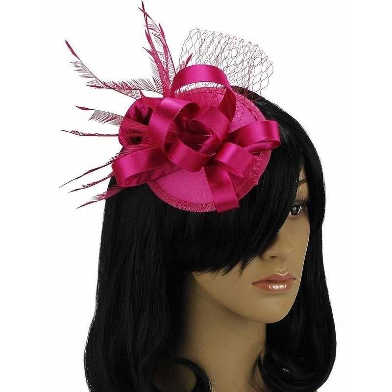 Chapeau mariage Fascinateur accessoire cheveux rose fushia