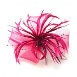 Chapeau mariage Bibi cérémonie rose fuschia avec plumes