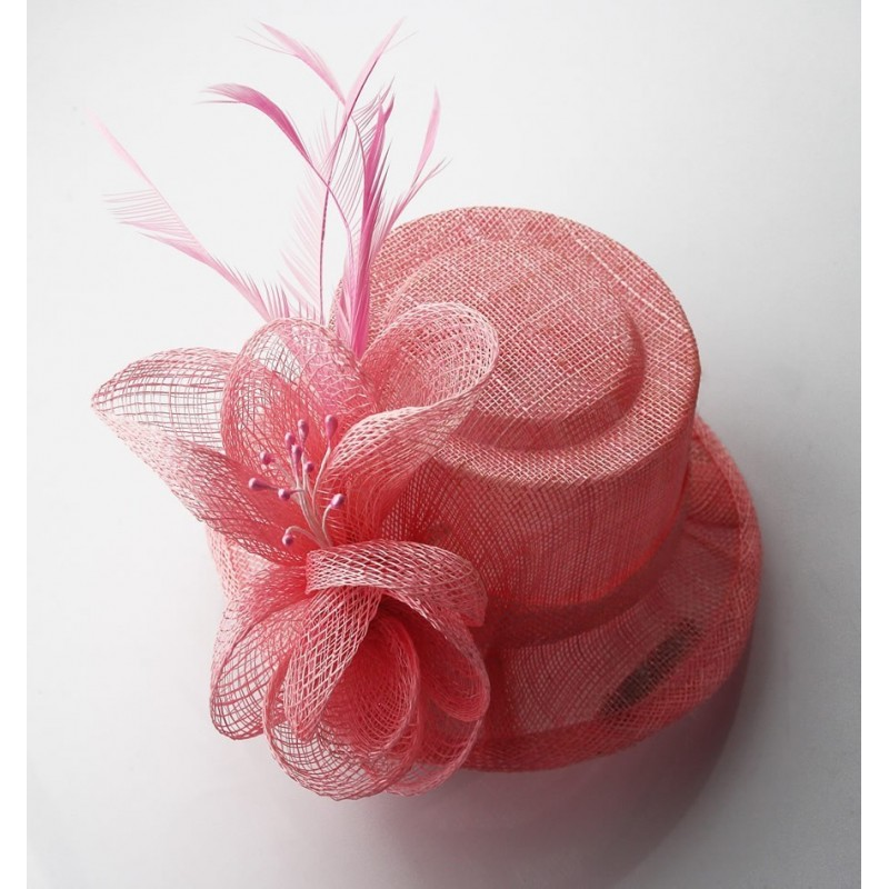 Chapeau mariage Petit chapeau cérémonie sisal rose