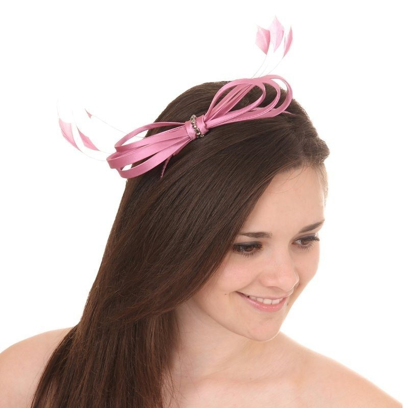 Chapeau mariage Accessoire coiffure noeud satin strass rose