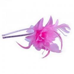 Chapeau mariage Headband avec fleur et plumes rose fuchsia
