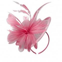 Chapeau mariage Chapeau de cérémonie fleur plumes sisal rose