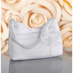 Sac mariage fleur organza anse perles