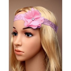 Headband stretch dentelle fleur et strass rose