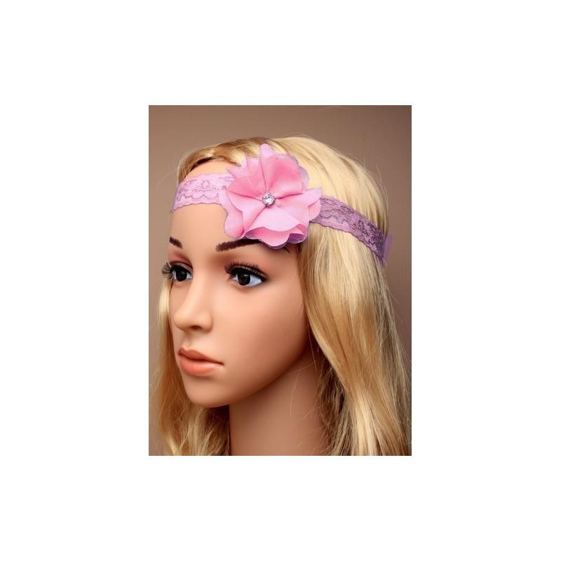 Chapeau mariage Headband stretch dentelle fleur et strass rose