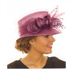Chapeau de ceremonie rose fuchsia noeud strass plumes