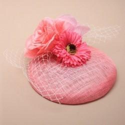 Chapeau mariage Bibi de mariage rose voilette et fleurs
